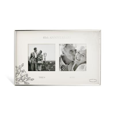 60th Anniversary Silver Floral Double Frame