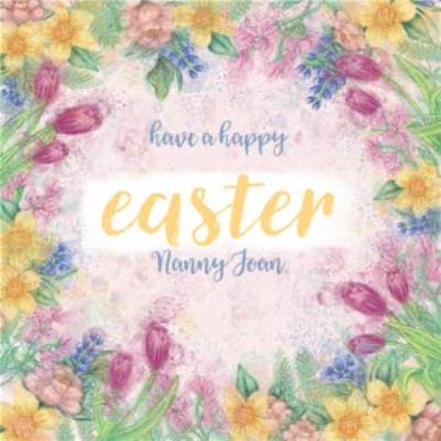 Floral Happy Easter Card - Tulip - Daffodil