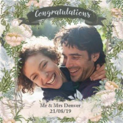 Wedding Card - Photo Upload - Congratulations - Newly Weds - Floral