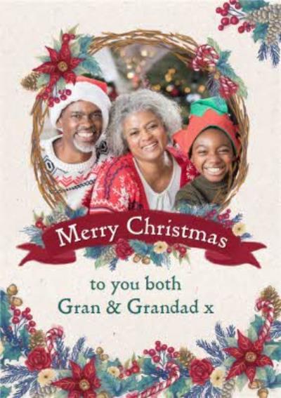 Hope Blossoms Photo Upload Christmas Card For Gran & Grandad
