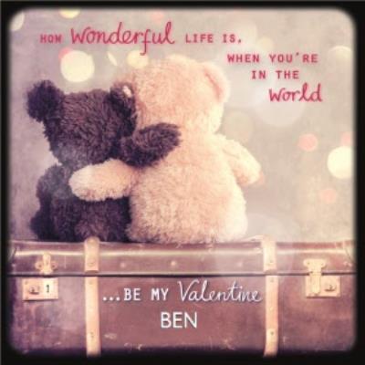 Cute Teddy Bears Hugging Be My Valentine Personalised Card