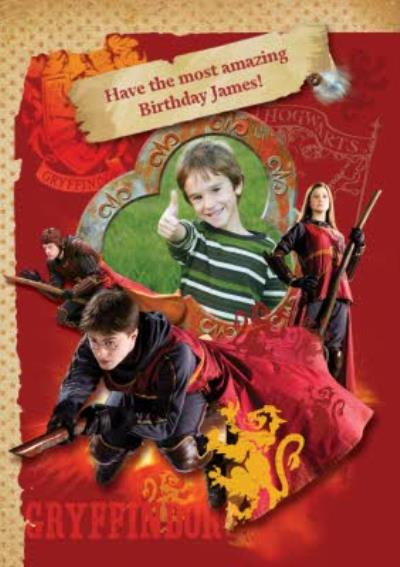 Harry Potter Quidditch Characters Personalised Photo Upload Birthday Card