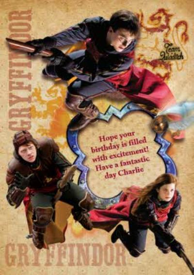 Harry Potter Gryffindor Quidditch Personalised Birthday Card