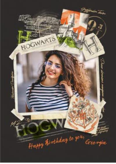 Harry Potter Photo upload birthday card - Hogwarts