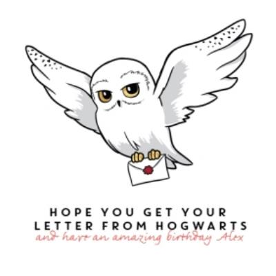 Harry Potter birthday Card -  Hedwig owl Hogwarts wizard letter