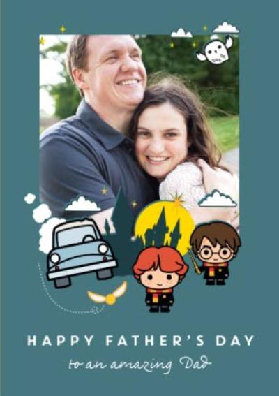 Harry Potter Cartoon Characters Happy Father's Day Photo Card