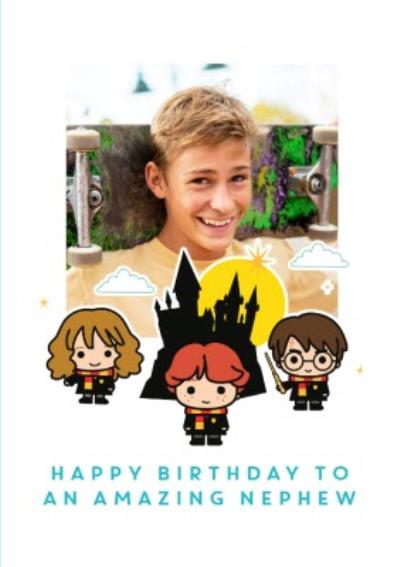 Harry Potter Ron Weasley Hermione Granger cartoon card - Happy birthday Nephew photo upload card