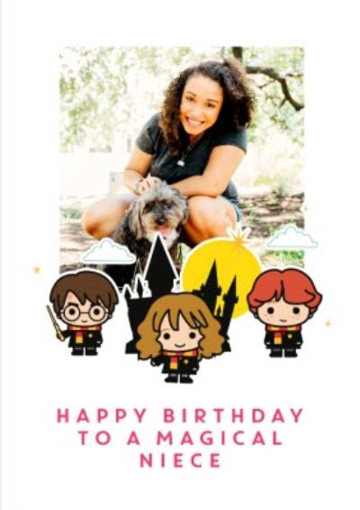 Harry Potter Ron Weasley Hermione Granger cartoon card - Happy birthday Niece photo upload card
