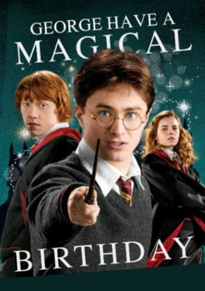 Harry Potter Ron Weasley Hermione Granger card - Magical birthday card