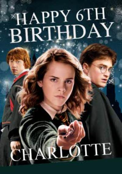 Harry Potter Ron Weasley Hermione Granger card - Magical 6th birthday card