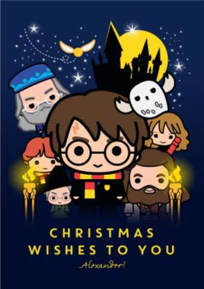 Harry Potter Cartoon Christmas Wishes To You Christmas Card