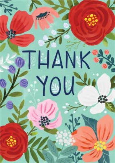 Floral Flowers Thank You Card