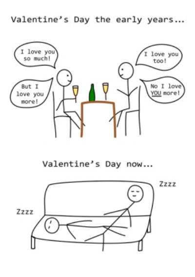 Stick Figures Hurrah For Gin Funny Valentines Day Card Then And Now