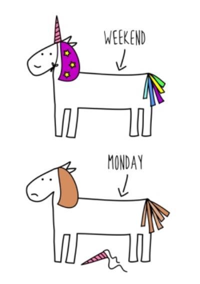 Hurrah For Gin Weekend Unicorn Monday Morning Horse Birthday Card