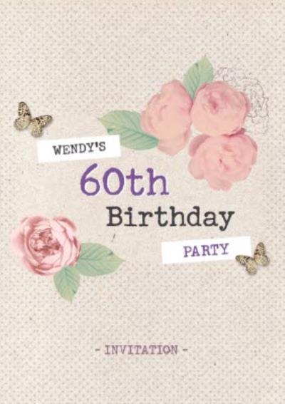 Pretty Flowers 60Th Birthday Party Invitation