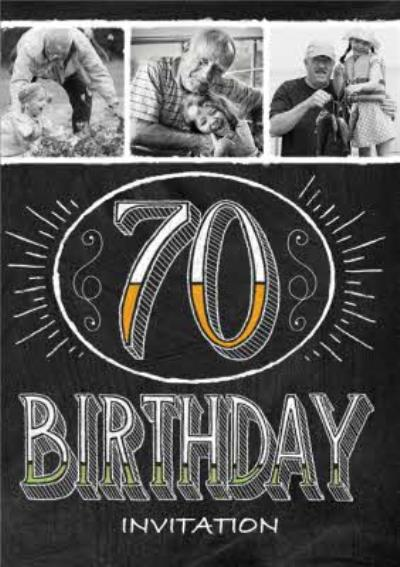 Monochrome Photo Upload 70Th Birthday Party Invitation