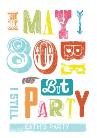 Personalised Letterpress 80Th Birthday Party Invitation