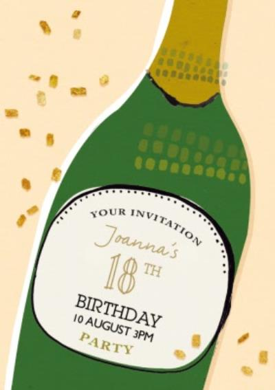Champagne Bottle Personalised Party Invitation