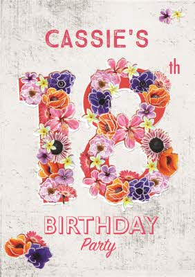 Floral Numbers 18Th Birthday Party Invitation