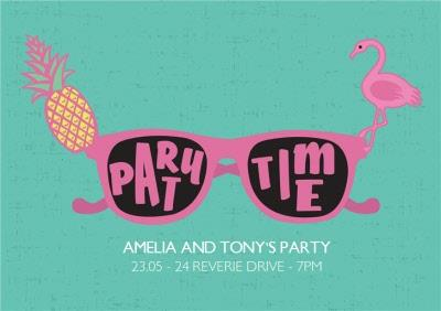Pineapple And Flamingo Party Time Invitation
