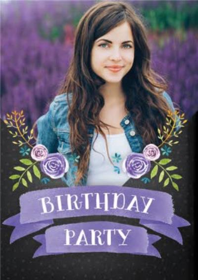 Lilac Banner And Flowers Photo Upload Birthday Party Invitation