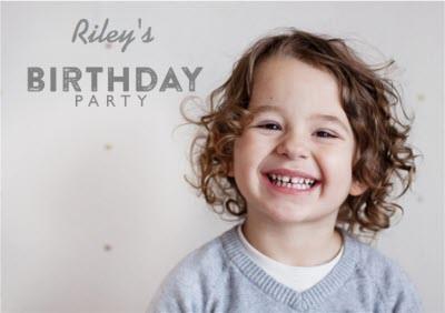 Grey Photo Upload Birthday Party Invitation