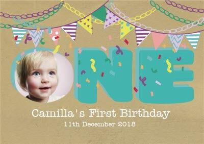 Colourful Bunting Photo Upload 1St Birthday Party Invitation