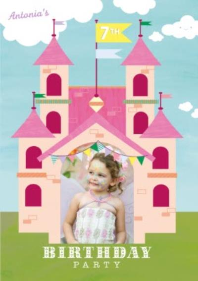 Pink Castle Photo Upload Birthday Party Invitation