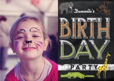 Wild Animals Photo Upload Birthday Party Invitation
