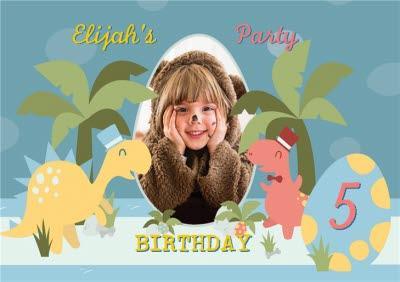 Cartoon Dinosaurs Photo Upload Birthday Party Invitation