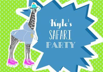 Roller Skating Giraffe Personalised Birthday Party Invitation