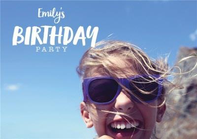 Brush Lettering Photo Upload Birthday Party Invitation