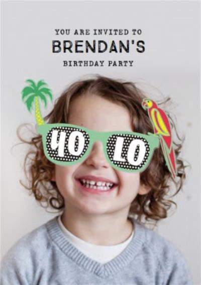 Tropical Sunglasses Photo Upload Birthday Party Invitation