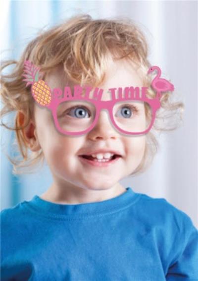 Pineapple And Flamingo Sunglasses Photo Upload Birthday Party Invitation