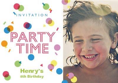 Colourful Confetti Birthday Party Invitation