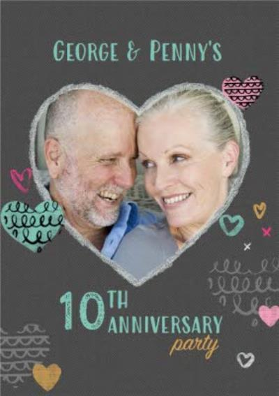 Multi-Heart Personalised 10Th Anniversary Party Invitation