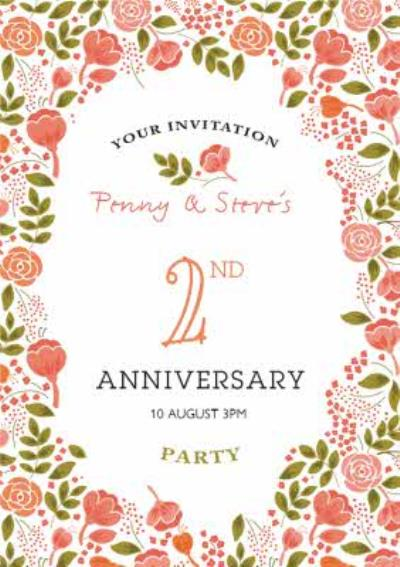 Coral Flowers Personalised 2Nd Anniversary Party Invitation