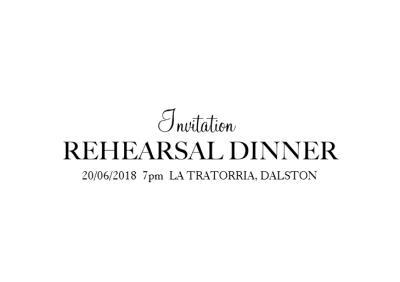 Monochrome Wedding Rehearsal Dinner Invitation