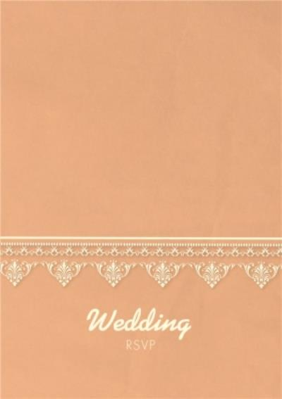 Coral And Lace Doily Pattern Wedding Invitation