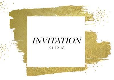 Metallic Gold Brushstrokes Party Invitation
