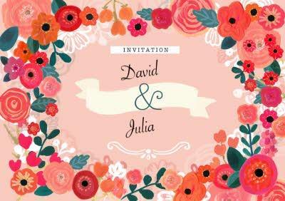 Bright Flowers Wedding Invitation