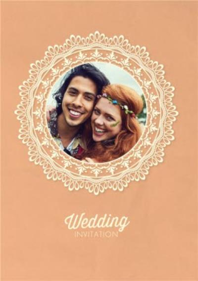Coral And Lace Doily Pattern Photo Wedding Invitation