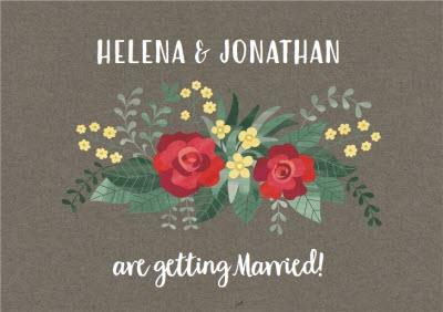 Red And Yellow Flowers Wedding Invitation