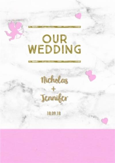 Bright Pink And Marble Wedding Invitation