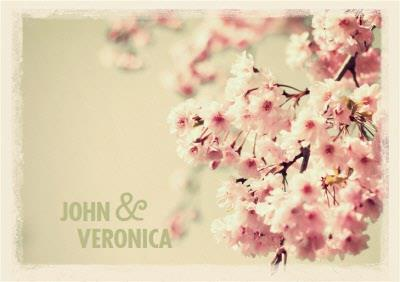 Pink Cherry Blossoms Wedding Invitation