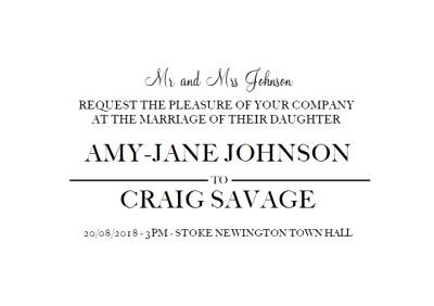 Personalised You Are Invited To The Wedding Invitation