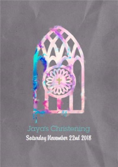 Tie-Dye Watercolour Personalised Christening Invitation