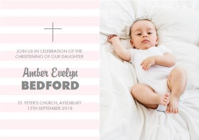 Pink Striped Photo Upload Personalised Christening Invitation