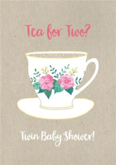 Personalised Twin Baby Shower Card Tea For Two?