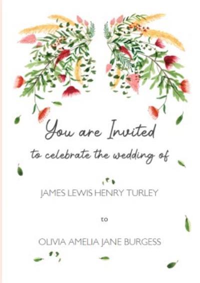 Floral Personalised Wedding Invitation